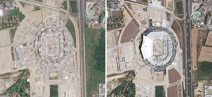 Construction du Grand stade de Lyon © IGN / Airbus Defence & Space