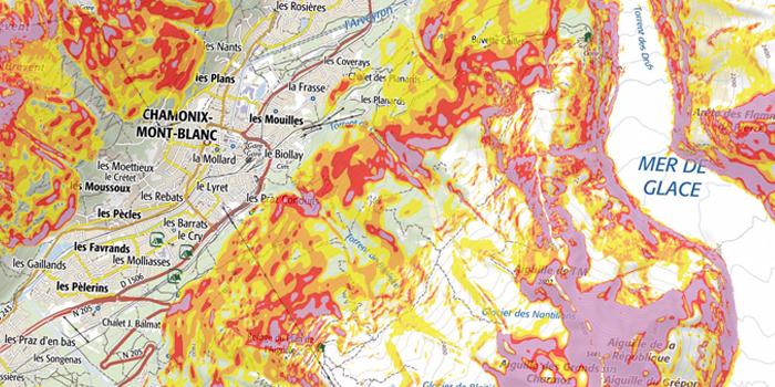 La carte des pentes de Chamonix-Mont-Blanc, Alpes