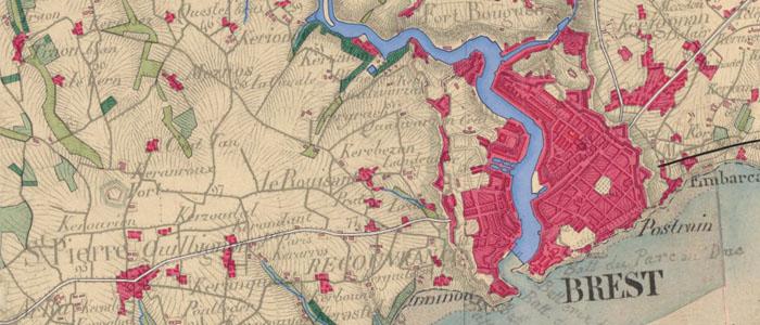 Occupation du sol historique de Brest sur les cartes d'état-major du XIXe siècle