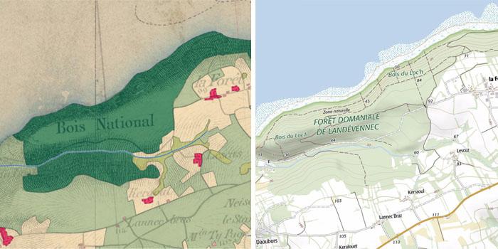 Occupation du sol historique de la forêt domaniale de Landévennec sur les cartes d'état-major et la carte IGN