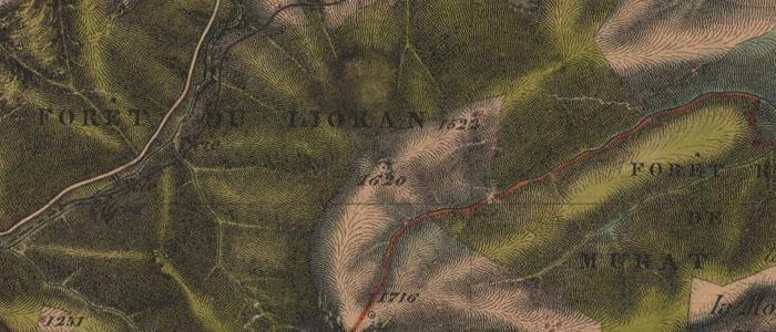 Cartes d'état-major du XIXe siècle de la forêt du Lioran