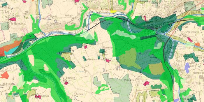 Occupation du sol historique, carte forestière v2 et carte topographique IGN