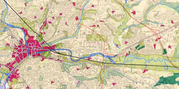 Occupation du sol historique de Quimper sur la carte topographique IGN