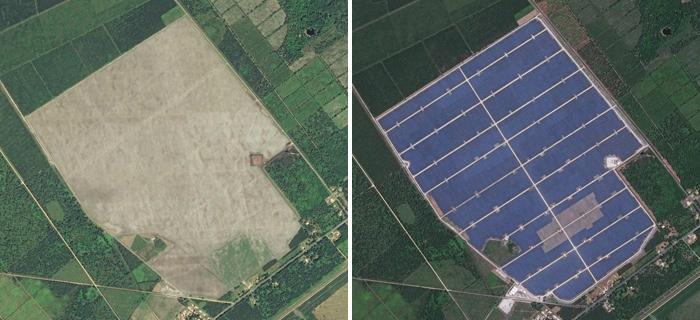 Construction d'une ferme solaire, nord-est de la commune de Cestas (Gironde) © IGN / Airbus Defence & Space