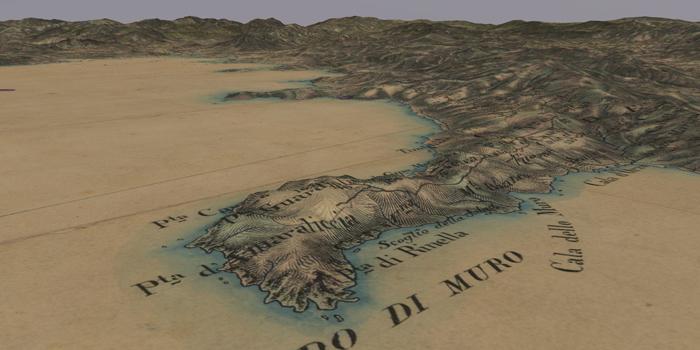 Carte de l'état-major en vue 3D de la Corse