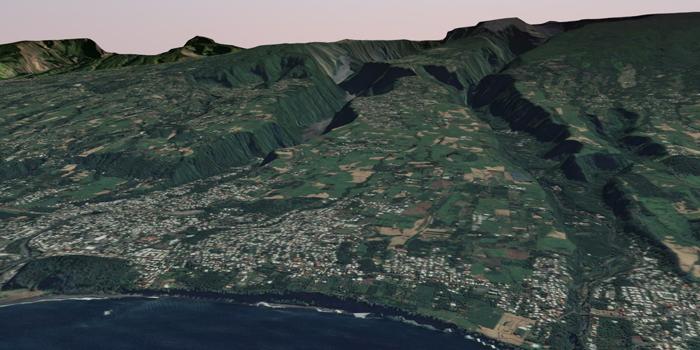 Photographie aérienne en vue 3D de la Réunion