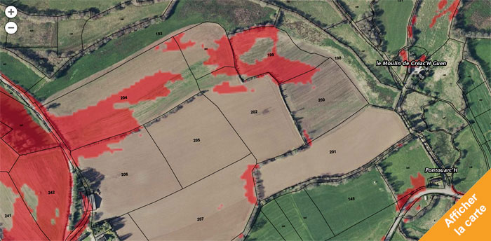 Carte des pentes pour l'agriculture