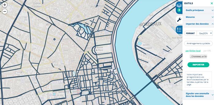 Réseau des aménagements cyclables sur Bordeaux Métropole
