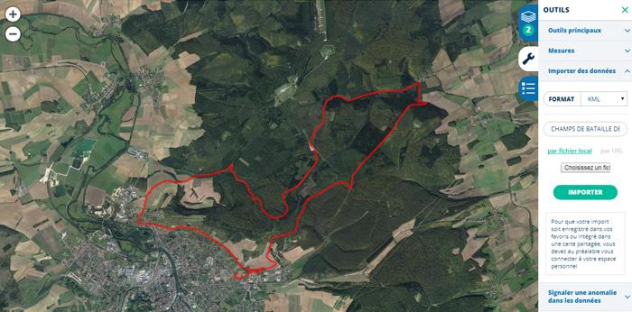 Import d'un parcours de randonnée via un fichier KML