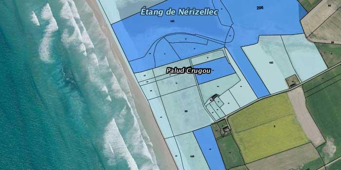 Périmètres d'intervention et parcelles protégées du Conservatoire du littoral