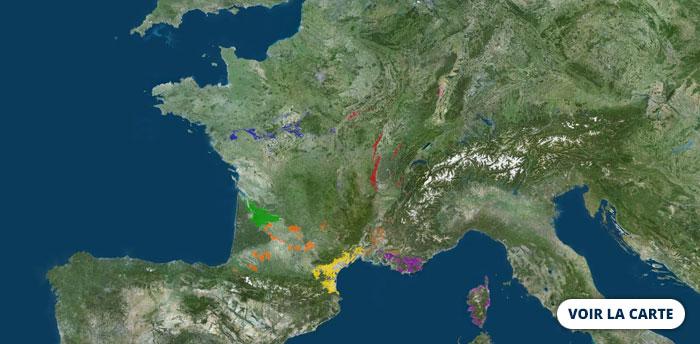 Visualisation des AOC viticoles sur le Géoportail